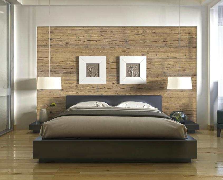 Exklusives Schlafzzimmer mit Altholz-Rückwand