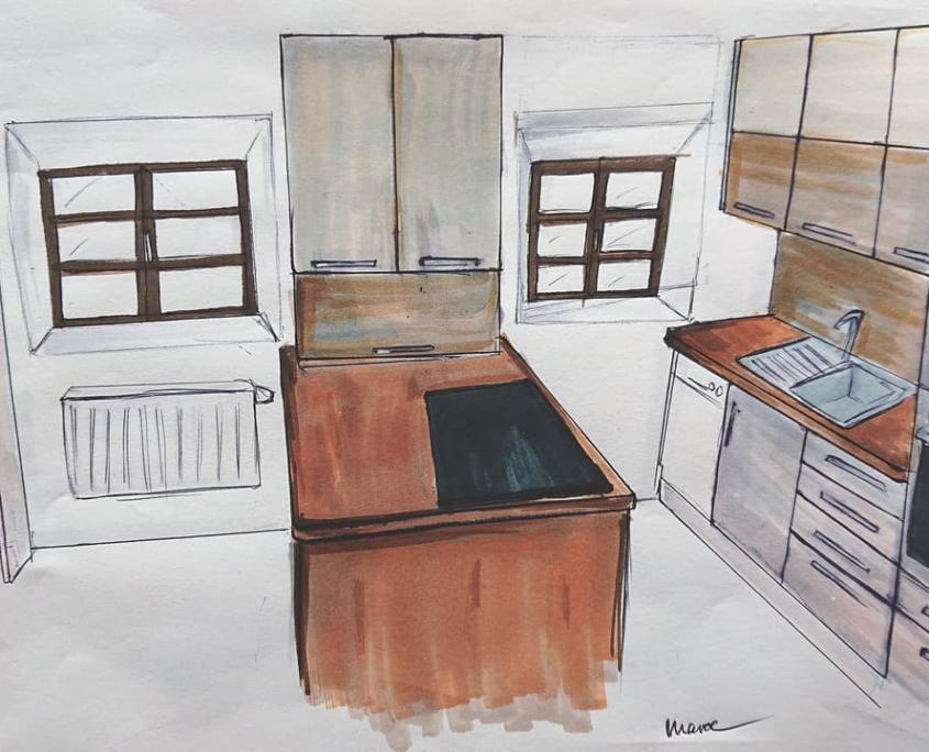 Handzeichnung Küchenplanung
